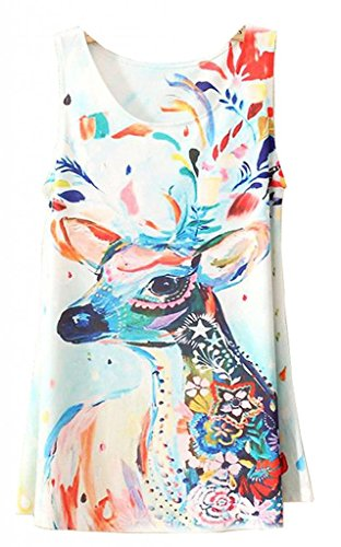 Women Fitted Sleeveless Graphic Printed T Shirt Blouse Vest Tank Tops Hot