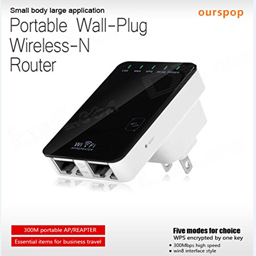 Ourspop®P5 300Mbps Ws-Wn523N2 Portable Wall-Plug Wireless-N Router W/ Wi-Fi Repeater