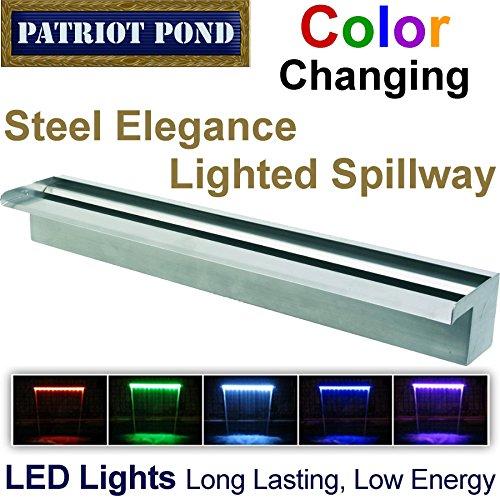 "Patriot Steel Elegance Ste36Cc Color Changing 36"" Lighted Stainless Steel Spillway"