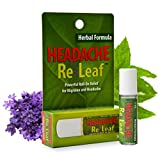 Headache ReLeaf Roll On (Migraine Pain Relief & Allergy Headache Relief): Essential Oil Therapy for Headache Pain, Safe Remedy for Children's Headaches, Stops Monthly Period Headache, No Spill Bottle