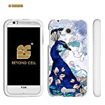 Spots8® For HTC Desire 510 ( Cricket Boost Mobile Sprint Virgin Mobile ) Glossy Image Graphic Designs 2 Piece Snap On Images Cellphone Cell Phone Hard Protect Case Cover – Queen Peacock Design – Retail Packaging