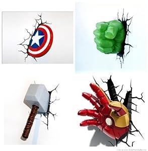 Marvel 3 D Deco Thor The Hulk Captain