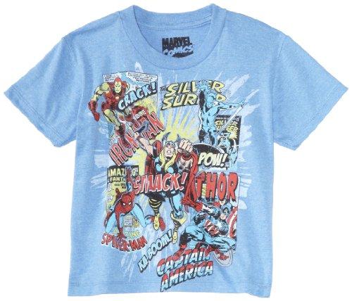 Marvel Boys 8-20 Marvel Title Blast Shirt, Light Blue, Large