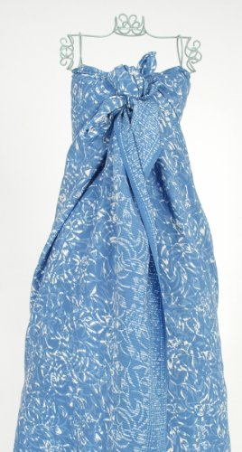 Sky Blue Budding Flowers Batik Sarong Hand Made