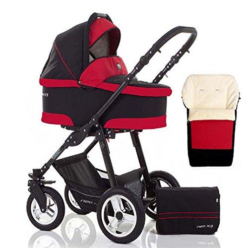 2 in 1 Kinderwagen Neo X3 - Kinderwagen + Sportwagen + Fußsack + GRATIS ZUBEHÖR in Farbe Schwarz-Rot