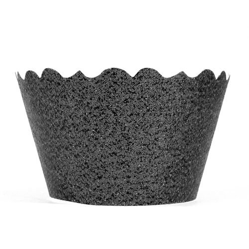 Bella Cupcake Couture 633131980165 Glitter Cupcake Wrappers, Black, Set Of 12 front-588645