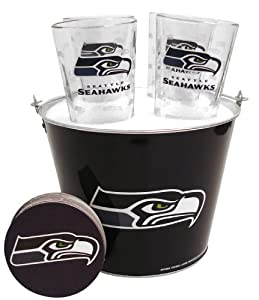 NFL Seattle Seahawks Satin Etch Bucket and 4 Glass Gift Set by Boelter Brands