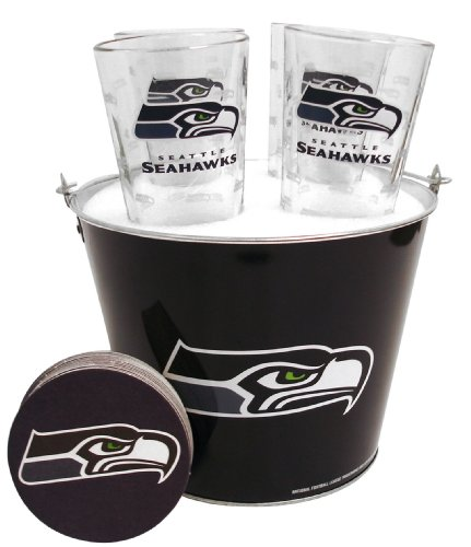 NFL-Seattle-Seahawks-Satin-Etch-Bucket-and-4-Glass-Gift-Set
