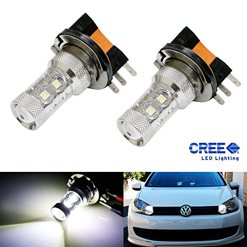 Ijdmtoy (2) Xenon White 50W H15 Cree Led Bulbs For Audi Bmw Mercedes Volkswagen For Daytime Running Lights