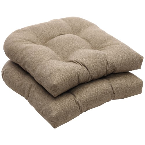 Pillow Perfect Indoor/Outdoor Taupe Textured Solid Wicker Seat Cushions, 2-Pack