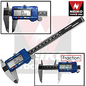 "Neiko Pro-Quality 6"" Inch Digital Caliper Stainless Steel LCD Measuring Tool - Metrics/SAE/Inch-Fractions"