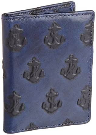 Jack Spade Embossed Anchor Vertical Card Holder, Navy, One Size