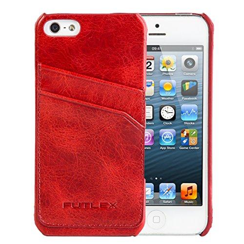 iPhone-SE-5-5S-Case-FUTLEX-Echtleder-Vintage-Style-Rckseite-Case-Rot-Kartenhalter-Ultra-Slim-Prziser-Zuschnitt-und-Design-Handgefertigt
