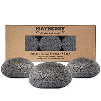 Konjac Exfoliating Sponge with Bamboo Charcoal - 3 Pack - 100% Natural Charcoal Face Sponge for Improving Skin's Look and Feel - Face Charcoal Sponge with Attached String for Hanging to Dry