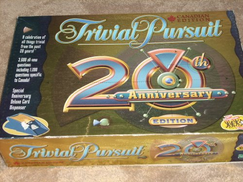 CANADIAN EDITION Trivial Pursuit 20th Anniversary Edition Game - 3600 all-new questions including 1200 questions specific to Canada! Special Anniversary Deluxe Card Dispenser (Monopoly British compare prices)