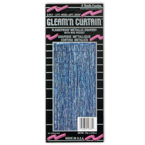 1-Ply FR Gleam 'N Curtain (blue) Party Accessory  (1 count) (1/Pkg)