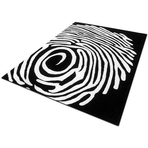 Tappeo Design in lana 170 x 240 Bianco - Nero