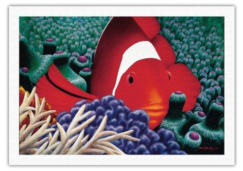 Diva - Hawaïen Poisson Clown De Tomate Dans L'anémone De Mer - Original Color Painting by Mark Mackay - Beaux-Arts Imprime Fine Art Print - 69cm x 102cm toile roulee