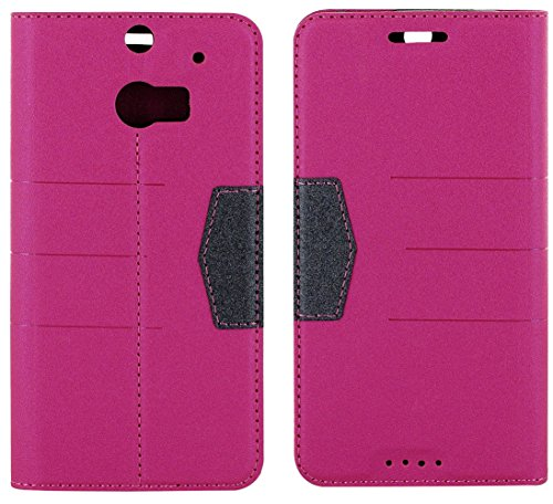 Mylife Pink Peony + Onyx Black {Fancy Design} Faux Leather (Card, Cash And Id Holder + Magnetic Closing) Slim Wallet For The All-New Htc One M8 Android Smartphone - Aka, 2Nd Gen Htc One (External Textured Synthetic Leather With Magnetic Clip + Internal Se