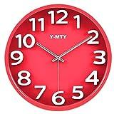 Y-MTY どんな部屋にも合う 3D ウォール クロック 壁掛け時計 おしゃれ 掛け時計 インテリア 時計 壁掛け ウォールクロックアート ブルー ピンク グリーン ブラック ピンク ホワイト 全6色 新築 お祝い ギフト 飲食店 Y-MTY-043 (30cm×30cm, Red)