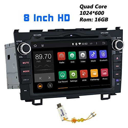 JOYING 8 Inch 1024600 Android 4.4.4 Kitkat Quad Core Car Stereo for Honda CR-V 2007 2008 2009 2010 2011 2012 in Dash Hd Capacitive Touch Screen Car DVD Player GPS Navigation System Radio Head Unit Autoradio Support Bluetooth/sd/usb/steering-wheel/fm/am Radio/av-in/1080p/mirror Link (Honda Crv 2012 Stereo compare prices)