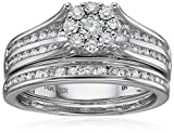 IGI Certified 14k White Gold Diamond Double with Cluster Wedding Ring Set (1cttw, H-I Color, I1-I2 Clarity)