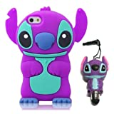 DE Cute 3D Cartoon Animal Series iPhone 5C Case New Purple 3D Cartoon Stitch Movable Ear Shape Style Soft Silicone Rubber Case Protective Cover for Apple iPhone 5C With 3D Stitch Stylus Touch Pen Gift
