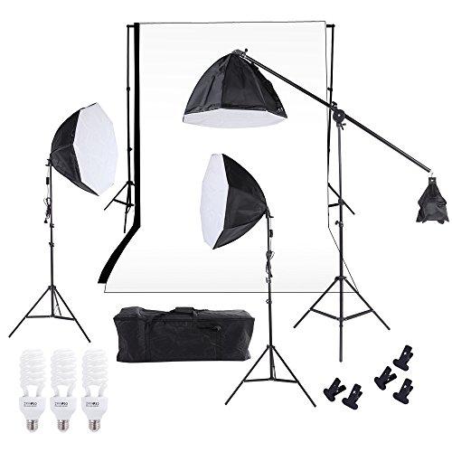 Andoer® studio fotografico illuminazione softbox foto luce mussola Kit supporto fondale con tre 60 centimetri Octagon Softbox Cantilever Treppiede lampadine Bianco Nero Scenografia sacchetto di trasporto