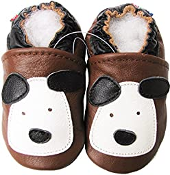 Carozoo baby boy soft sole leather infant toddler kids shoes Little Puppy Brown 2-3y