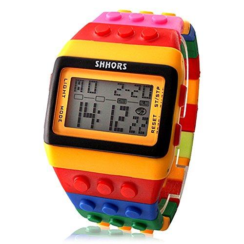 mehrfarbige-armbanduhr-im-ziegel-stil-mit-led-nachtlicht-gelb