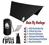 Chill Gorilla Pro Waterproof Tent Tarp, Rain Fly and Hammock Shelter [Essential Camping & Survival Gear] RIPSTOP Nylon Black