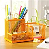 Orange Metal Study Desk Drawer Pen Pencil Card Stationery Holder Organizer Storage Tidy