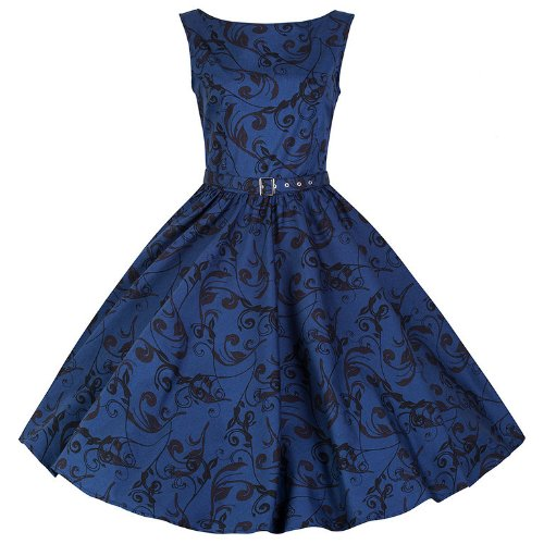 Pretty Kitty Fashion 50s Blue Print Sleeveless Swing Dress