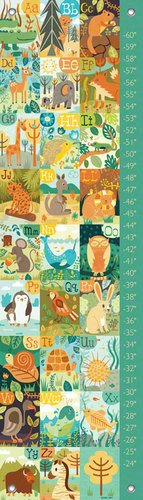 Oopsy Daisy A Through Z Animals by Allison Cole Growth Charts, 12 by 42-Inch