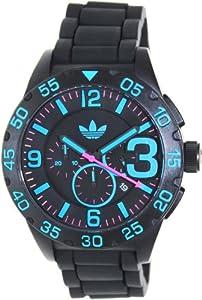 Adidas Newburgh Chronograph Black Dial Black Silicone Strap Mens Watch ADH2886