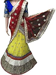 Suchi Fashion Yellow & Red Heavy Embroidered Net Semistitched Party Wear Lehenga Choli