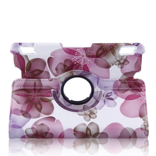 """Auto Sleep/Wake Function 360 Degree Rotating Stand Smart 7 Inch Case Cover For Kindle Fire Hdx 7"""" With A Stylus As A Gift--Peach Blossom Pattern,Pink front-301862"""