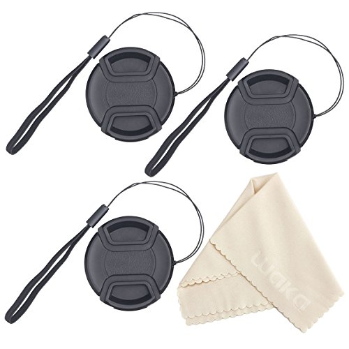 UNIQUE DESIGN Lens Cap Bundle, 3 Pcs Center Pinch Lens Cap and Cap Keeper Leash for Canon Nikon Sony DSLR Camera + Microfiber Cleaning Cloth (Dslr Lense Cap compare prices)