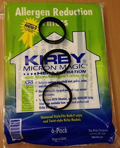 Genuine Kirby Universal Bags: 1 Pack (6 bags) of Universal HEPA White Cloth Bags Kirby Part 204811 and 3 Kirby Belts Part 301291 (Kirby Bags 204811 compare prices)