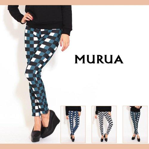 【MURUA(ムルーア)】ブロックチェックレギパン 1(S)サイズ ブルー