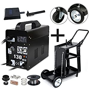 Super Deal MIG 130 Welding Machine Gas-Less Welder and Cart w/Handle Professional Set by Super Deal