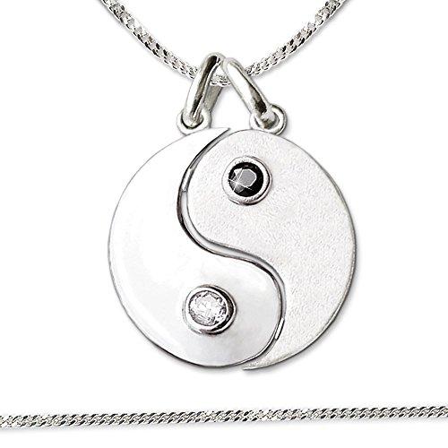 CLEVER SCHMUCK Catenina con ciondolo motivo yin yang, 16 mm, divisibili, metà satinato e metà lucido, con zircone bianco e nero, catenina a maglia groumette da 50 cm in vero argento 925