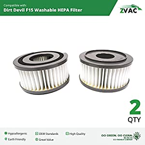 Dirt Devil F15 Washable HEPA Filter - 2 Pack - Fits all Dirt Devil Quick Vac Models - Similar to part # 1-SS0150-000, 3-SS0150-001 or 3SS0150001 - Made by ZVac