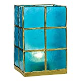 Cultural Intrigue Tall Turquoise Blue Capiz Candle Holder (gold edged)