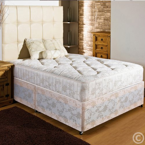 Hf4you New Ortho Firm Quilted Damask Divan Bed - 4ft6 Double - 4 Drawers - No Headboard