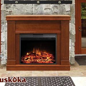 Muskoka MM2830WL Palmer Mantel Electric Fireplace, Walnut