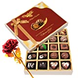 Enjoyable Dark And Milk Chocolate Box With 24k Red Gold Rose - Chocholik Belgium Chocolates