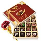 Enjoyable Dark And Milk Chocolate Box With 24k Red Gold Rose - Chocholik Belgium Chocolates