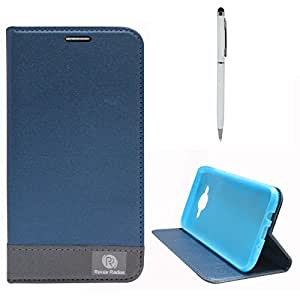 DMG Samsung Galaxy J5 J500 Flip Cover, DMG PRaiders Premium Magnetic Wallet Stand Cover Case for Samsung Galaxy J5 J500 (Pebble Blue) + Pen Stylus