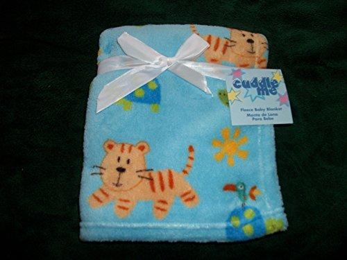 Blue Soft Fleece 30 x 36 Inch Animal Print Baby Blanket - 1